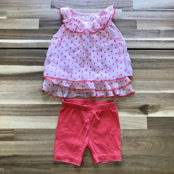 Baby Girl Frilly Tank Dress and Shorts Set Sz 6 Mo